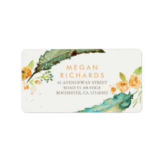 Feathers Bohemian Romantic Teal Wedding Label