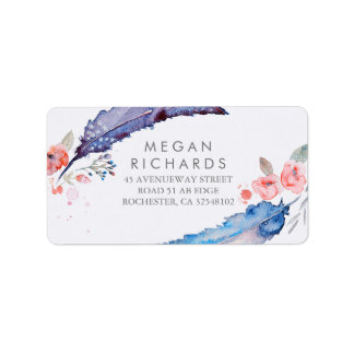 Feathers Bohemian Romantic Wedding Label