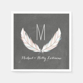 Feathers + Chalkboard Monogram Wedding Standard Cocktail Napkin