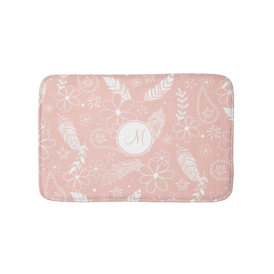 feathers flowers monogrammed pink or ANY color Bath Mat