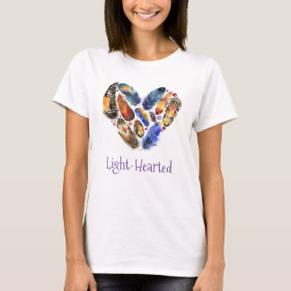 Feathers In A Heart Shape Light-Hearted T-Shirt