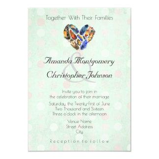 Feathers In A Heart Shape Mint Green Wedding Card