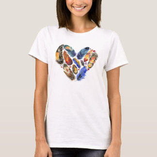 Feathers In A Heart Shape Watercolor Design T-Shirt