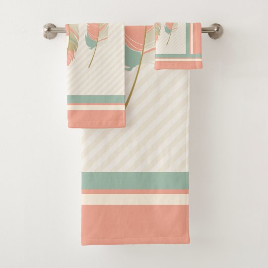 Mint Green Bath Towels Stunning Feathers In Cream Coral And Mint Green Bath Towel Set Zazzle
