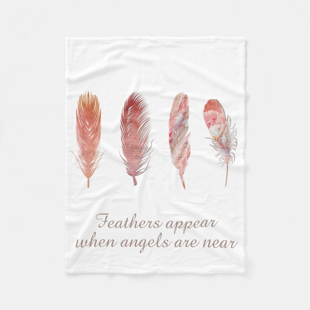 Feathers in pink and coral on white angel quote