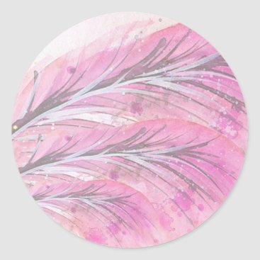 Professional Business feathers, light rose, elegant, sophisticated classic round sticker