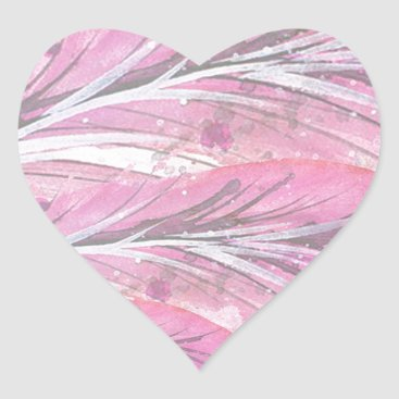 Professional Business feathers, light rose, elegant, sophisticated heart sticker