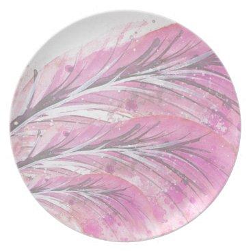 Professional Business feathers, light rose, elegant, sophisticated melamine plate