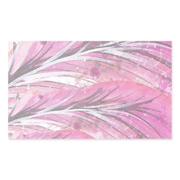 Professional Business feathers, light rose, elegant, sophisticated rectangular sticker