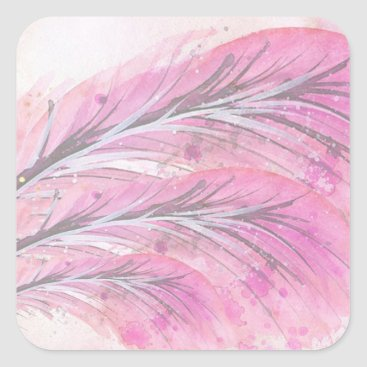 Professional Business feathers, light rose, elegant, sophisticated square sticker