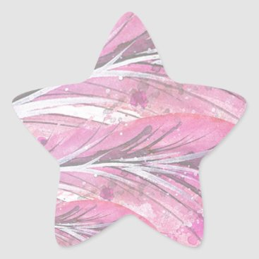 Professional Business feathers, light rose, elegant, sophisticated star sticker