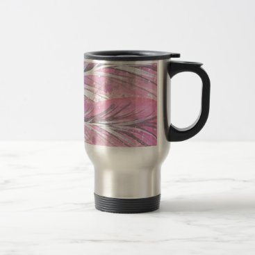 Professional Business feathers, light rose, elegant, sophisticated travel mug
