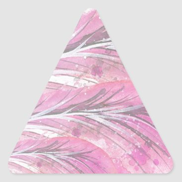 Professional Business feathers, light rose, elegant, sophisticated triangle sticker