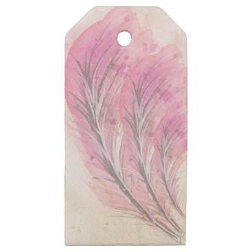 Professional Business feathers, light rose, elegant, sophisticated wooden gift tags
