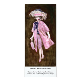 """Feathers, Mauvy Silk & Suede, Matisse Doll Fashion 4"""" X 9.25"""" Invitation Card"""