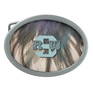 Feathers Monogram Design Belt Buckle