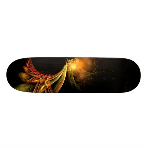 feathers of gold and fire skateboard decks