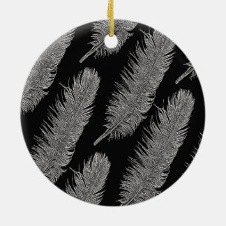 Feathers Double-Sided Ceramic Round Christmas Ornament