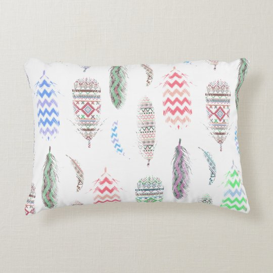 Feathers Pink Tribal Aztec Teal Chevron Pattern Accent