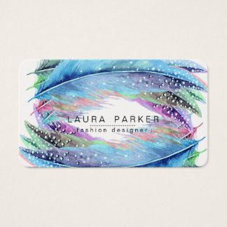 Feathers Watercolor Boho Bird Girly Chic Business Card