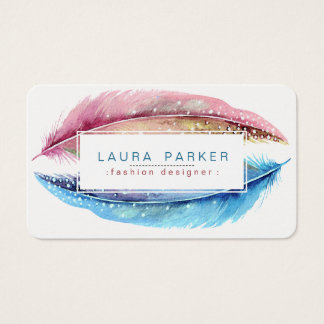 Feathers Watercolor Boho Bird Girly Modern Business Card
