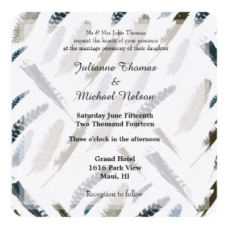 Feathers Wedding Card