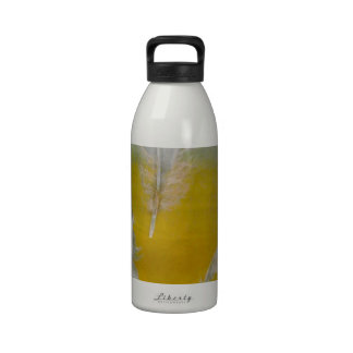 feathers white yellow blue colors water bottle
