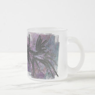 FEATHERY BRANCHES ON A TROPICAL BACKGROUND FROSTED GLASS COFFEE MUG