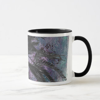 FEATHERY BRANCHES ON A TROPICAL BACKGROUND MUG