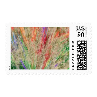 Feathery colors postage