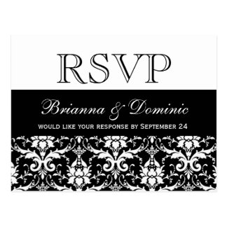 Feathery Damask RSVP Wedding Response Postcard
