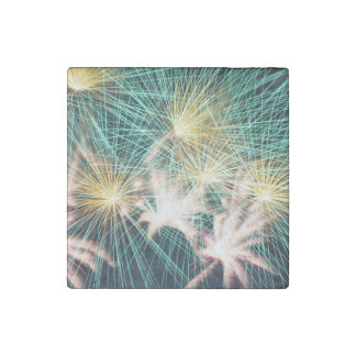 Feathery Fireworks Stone Magnet