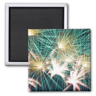 Feathery Fireworks 2 Inch Square Magnet