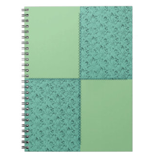 Feathery Floral Sage Patchwork Notebook