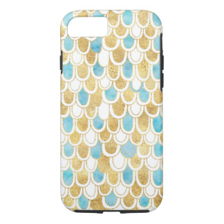 Feathery Gold Aqua White Glam iPhone 8/7 Case