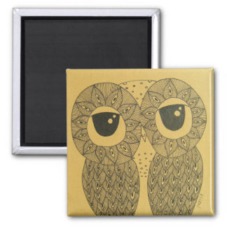 Feathery Lines Owl Magnet