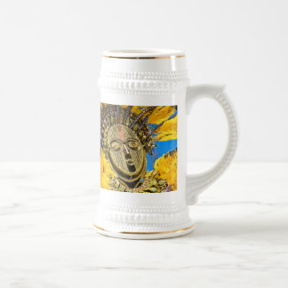 feathery mask 18 oz beer stein