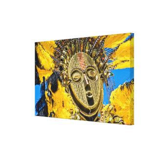 feathery mask canvas print