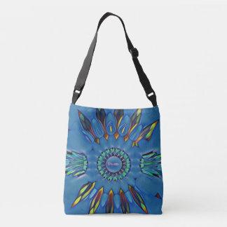 """Feathery Modern Blue """"Dharma"""" Circular Pattern Crossbody Bag"""