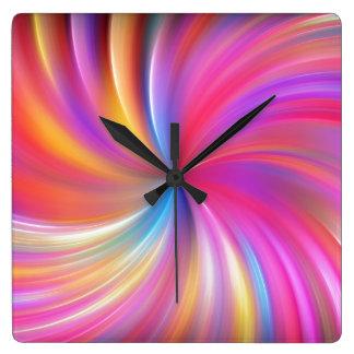 Feathery Rainbow Spiral Square Wall Clocks