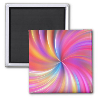 Feathery Rainbow Spiral 2 Inch Square Magnet