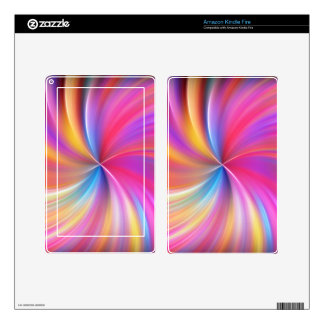 Feathery Rainbow Spiral Kindle Fire Skins