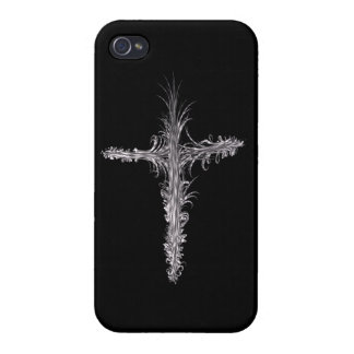 Feathery Silver and Black Abstract Cross Design iPhone 4 Case