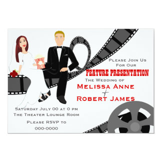 Feature Presentation Wedding 5x7 Paper Invitation Card