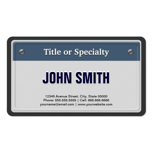 Featured And Cool Car License Plate Business Card Template