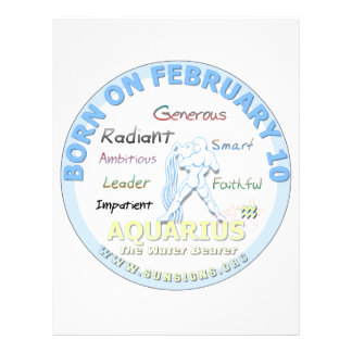 February 10th Birthday - Aquarius Letterhead Template