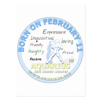 February 11th Birthday - Aquarius Postcard