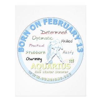 February 13th Birthday - Aquarius Letterhead Design