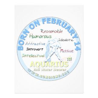 February 14th Birthday - Aquarius Letterhead Design