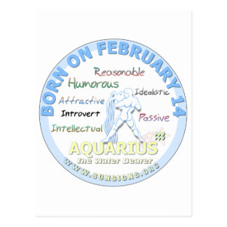 February 14th Birthday - Aquarius Postcard